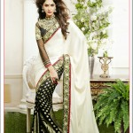 Charming Black & White Embroidered Georgette Saree available at Vivaahfashions.com