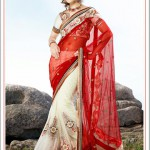 Off White and Crimson Embroidered Saree Product ID:189425 available at Vivaahfashions.com
