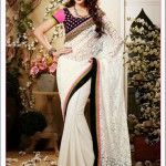 White Brasso-Georgette- Net Embroidered Saree available at Vivaahfashions.com