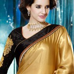 Beige and Black Satin Shimmer Saree