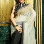Black and Off White Faux Georgette Saree