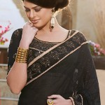 Black and Yellow Half and Half Saree