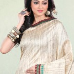 Off White Silk Saree with Printed BOrder