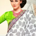 Off White and Pink Jacquard Saree