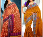 Butta Peach Puff Embroidered Banarasi Silk Saree & Gold Color Embroidered Bhagalpuri Silk Saree
