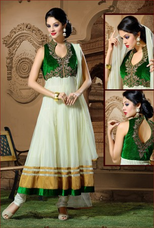Off White and Green Anarkali
