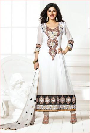 Off White Long Salwar Kameez