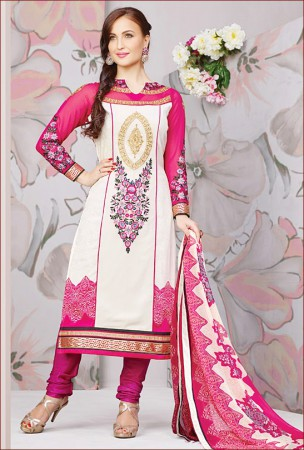 Off White and Pink Salwar Kameez