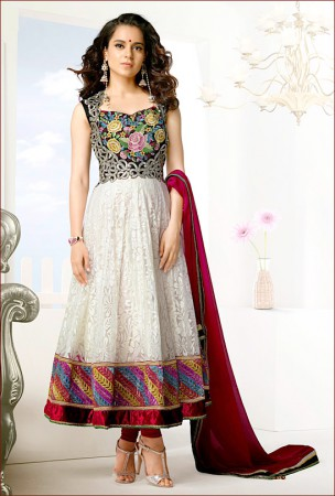 Off White and Black Anarkali worn by Bollywood Beauty Kangana Ranaut