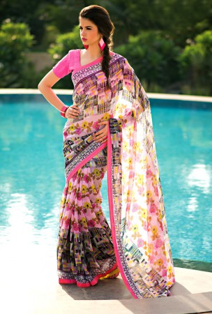 Off White and Pink Block Print Saree