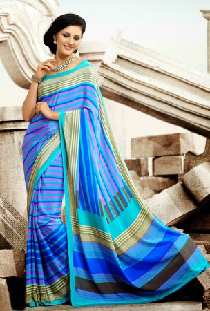 Blue and Aqua Blue Block Print Saree