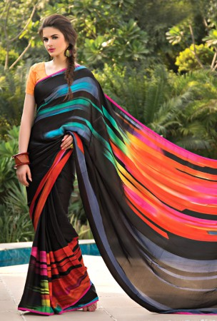 Black, Orange, Pink, Red Block Print Saree