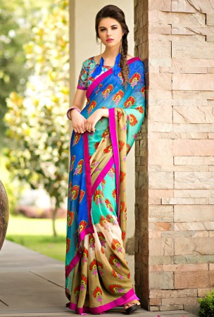 Cyan Blue, Blue and Beige Block Print Saree