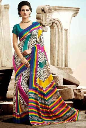 Cream, Bloe, Pink and Yellow Block Print Saree