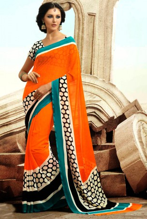 Deep Orange Block Print and Polka Dotted Saree
