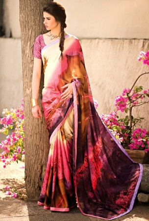 Cream, Brown and Violet Block Print Saree