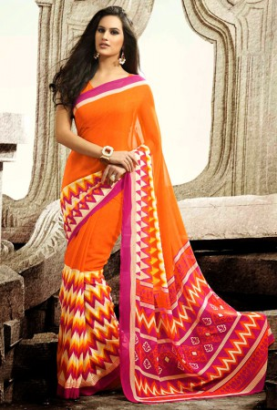 Deep Orange and Magenta Block Print Saree