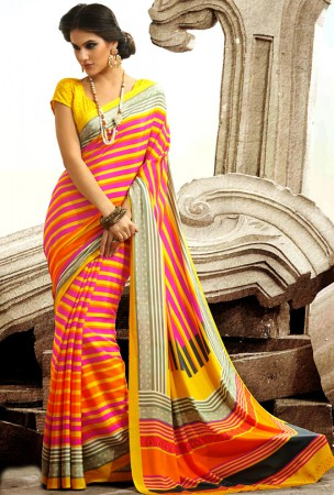 Orange, Pink and Yellow Block Print Saree