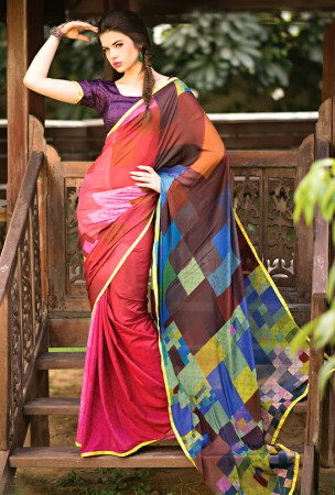 Multicolor Block Print Saree