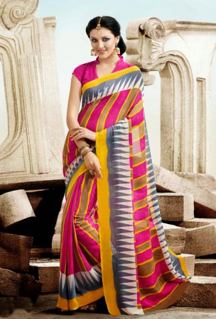 Pink, Yellow and Gray Block Print Saree