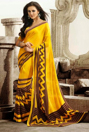 Yellow and Brown Block Print Saree