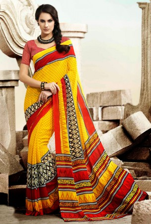 Yellow, Red and Black Block Print Saree