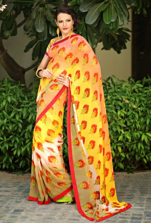 Yellow, Rose Pink and Beige Block Print Saree