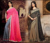 Attractive Faux Georgette Embroidered Sarees