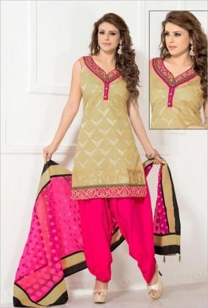 Beige Chanderi Cotton Silk Salwar Kameez