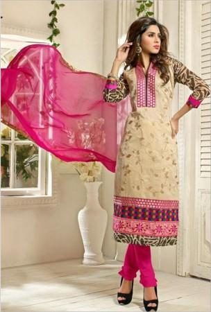 Beige and black chanderi cotton silk churidar kameez