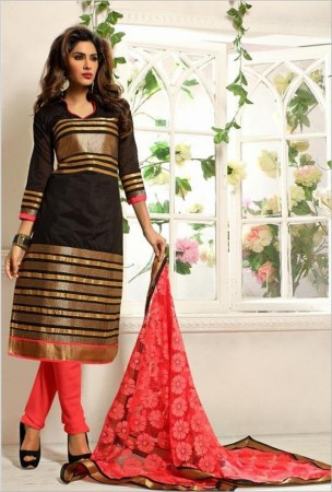Black Chanderi Cotton Silk Churidar Kameez