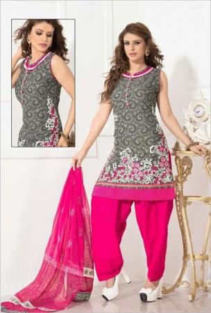 Gray Chanderi Cotton Salwar Kameez