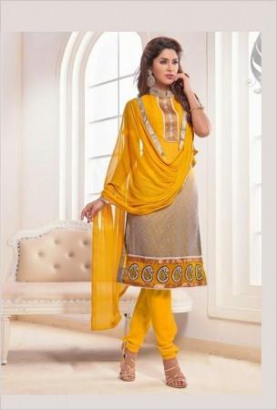Gray and Yellow Chanderi Cotton Churidar Kameez