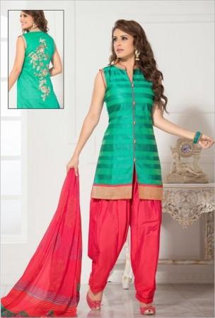 Jade Green Chanderi Cotton Silk Salwar Kameez