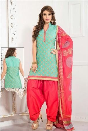 Mint Green Cotton Jute Silk Salwar Kameez