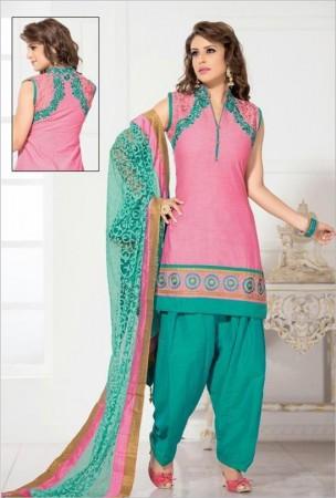 Rose Pink Cotton Jute Silk Salwar Kameez