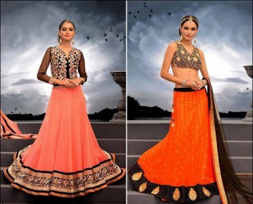 Pale Tomato and Deep Orange of sangeetNet Lehenga