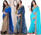 Plain Sarees with Golden Border