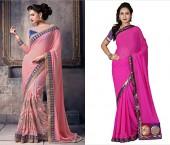 Pink Plain Pallu Sarees
